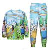 cheap price wholesale plain 100% polyester sublimation anime hoodies and pants set