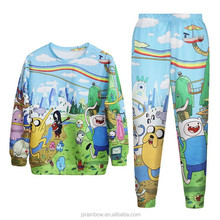 wholesale plain 100% polyester sublimation printed 3 d animal hoodies and pant set