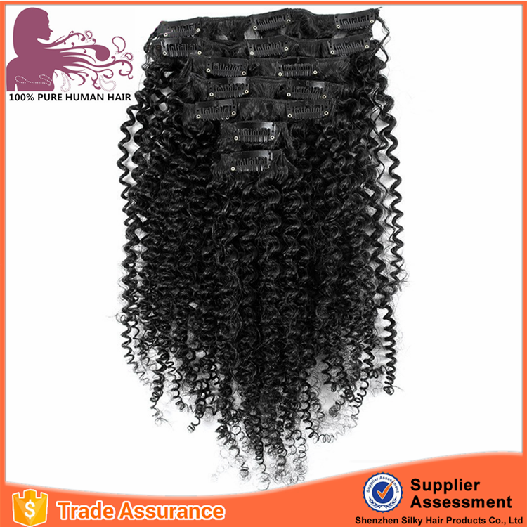 Hair factory OEM high quality 100% human hair afro kinky tight curly clip in hair extensions for african american
