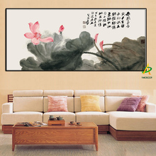 Wholesale printed Chinese Lotus Flower Canvas Oil painting By Zhang DaQian For Bedroom