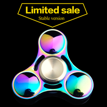 Dazzling Colorful Rotating 2-4 Minutes Tri Sides Aluminum Alloy Finger Gyro