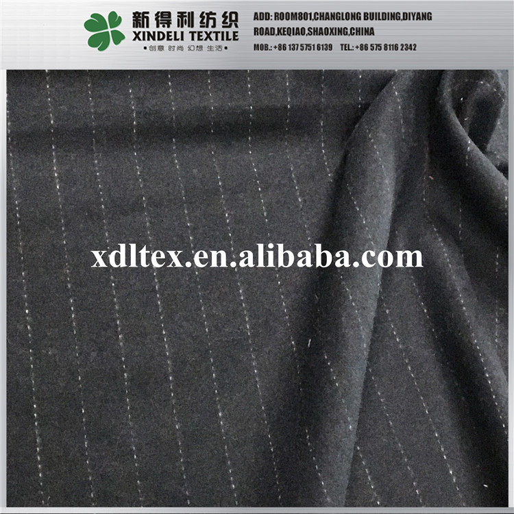 2017 Zhejiang shaoxing Hot selling stripe like woolen wool fabric for white and black woven clothing material
