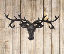 Cast iron metal art reindeer head vintage coat and key hooks for home decor