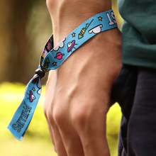 Popular item woven wristbands for concerts with one time use lock