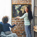 Limited Edition InLove Scratch off World Map Wall Poster with US States Outlined AMA-70