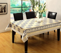 Garden Printing Plastic PVC Tablecloth with Beige Lace Edge