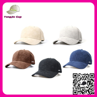 High Quality Adjustable Embroidery Design Customize suede 6 panel baseball cap wholesale