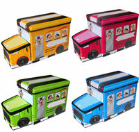 PU leather Foldable bus storage cartoon box for kid
