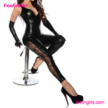 Black V Neck Backless PVC Full Body Sexy Latex Rubber Catsuit For Women