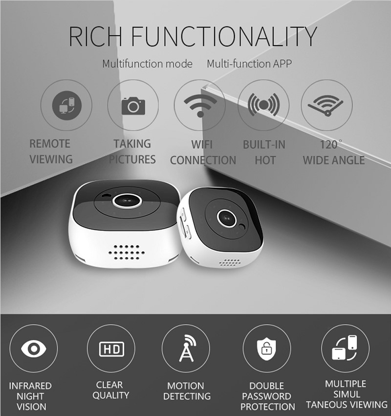 H9 Wifi Micro Camera Night Vision Mini Action Camera with Motion Sensor 1080P DH IP Camera