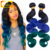 GORGEOUS 1B/Blue/Green Human Hair Ombre Hair Weft Virgin Malaysian Hair Body Wavy Ombre Green Human Hair Bundles