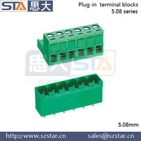 6 pins or 7 pins and 5.08mm spacing green plastic male and female terminal block connector as pcb terminal and connector