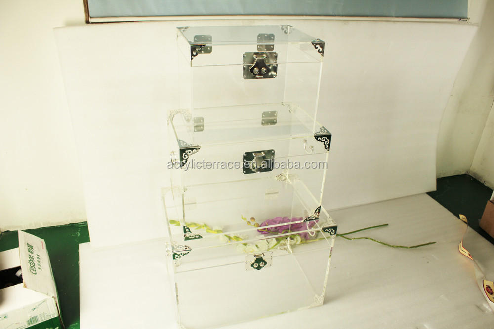 Set of 3 clear acrylic decorative storage trunk with silver hardware