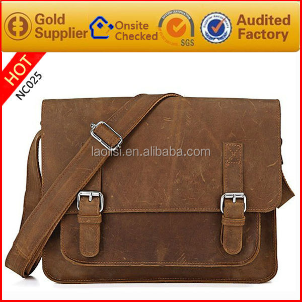 2015 new top brand genuine leather vintage style briefcase laptop men bags messenger bags