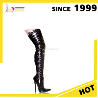 2015 China wholesale lace up black thigh ladies high heel thigh high women sexy boots shoes