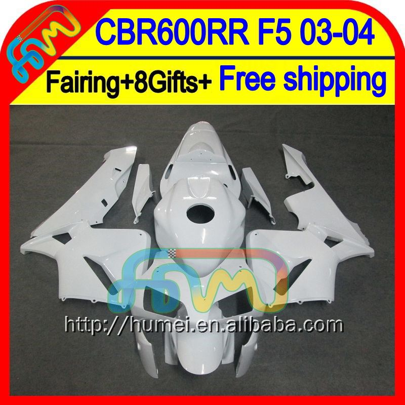 8Gifts Injection For HONDA CBR 600RR ALL White 600 RR 03 04 50HM57 CBR600 RR F5 Glossy white CBR600RR 2003 2004 03-04 Fairing