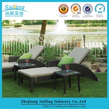 Sailing Outdoor Pe Rattan Sun High Back Designer Simple Double Bed