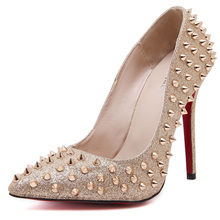 hot sale rivets pumps gold silver bling glitter mature women sexy party high heels shoes
