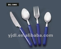 Stainless steel blue plastic handle western style flatware