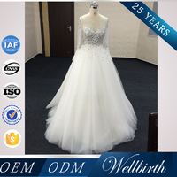 Special day dresses high ball gowns mesh one piece custom wedding dress 2016 long sleeve