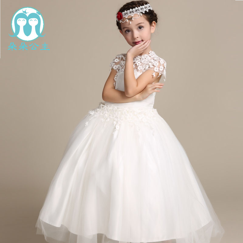Wedding Dress 2018 Children Long Frock Design White Princess Dresses