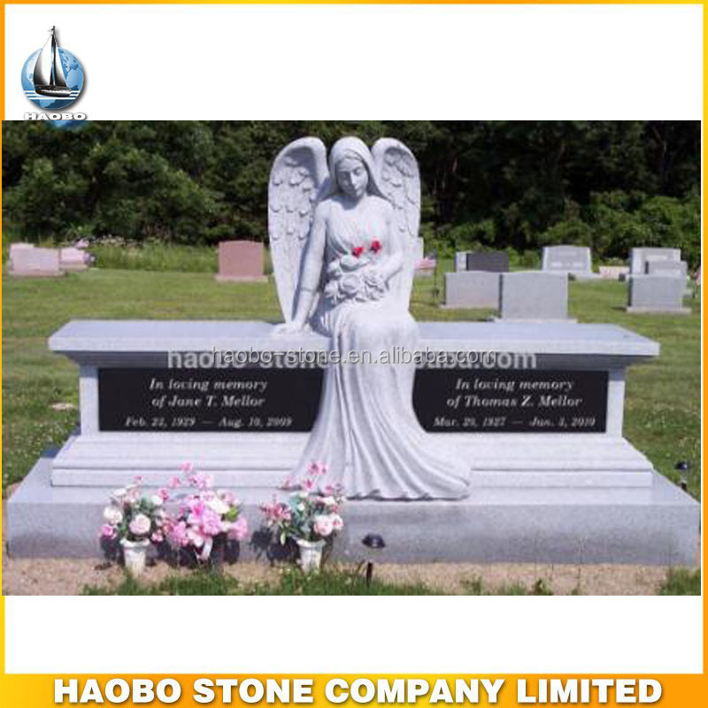 Best Quality Granite Stone Angel Cemetery Bench Monuments