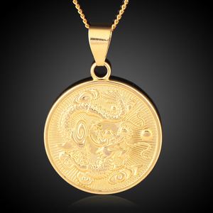 Wholesale Vintage Gold Color Round Chinese Ethnic Zodiac Dragon Pendant Necklace Jewelry for women men drop shipping trendy gift