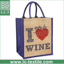 Recommend custom imprint burlap wine bag with strong quality cotton padded handles(LCTB0027)