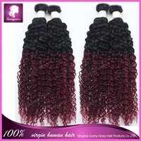 "New Arrival!Unprocessed Natural Hair 10""-30"" In Stock 2pcs/lot Ombre Curl Hair Weft Soft Smooth no Lice, no Dry, no Split"
