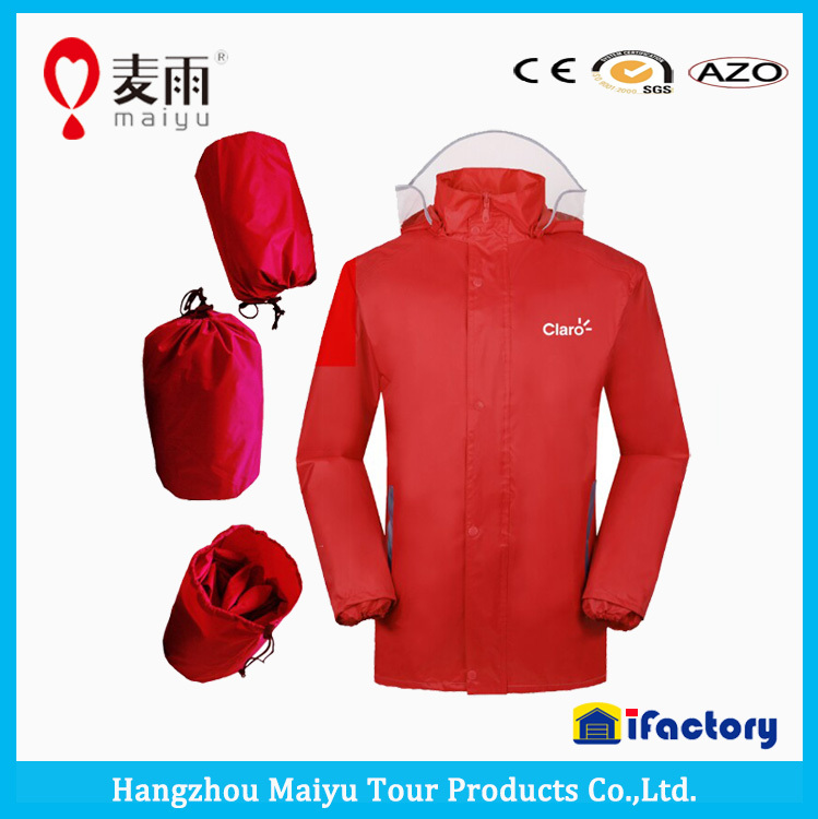 Maiyu waterproof polyester pu coating easy carried cycling rain jacket