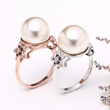 Latest Wedding Jewelry Design Flower Pearl Gold Ring For Women