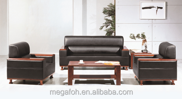 Pictures of high grade office furniture wooden microfiber leather sofa sets for president (FOH-6629)