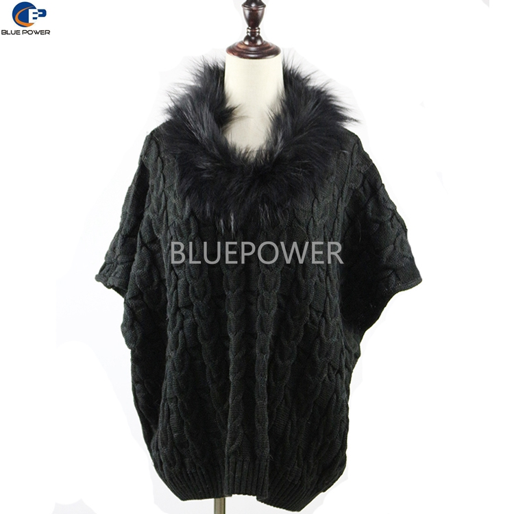 2016 Fashion Knitted Acrylic Fabric Bat-wing Women Poncho Shawl with Raccoon Fur Collar Black Color
