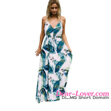 Turquoise Tropical Leaf Print Sexy V Neck cotton maxi <strong>dresses</strong> from india