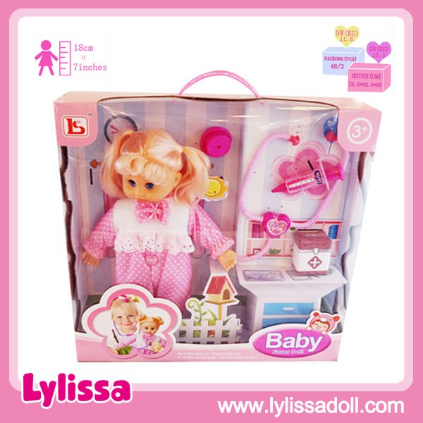 Factory Supply Hot Sale 15 Inch Fever Baby Doll with Injection and Doctor Set.