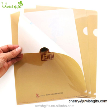 L shape logo embossing a4 plastic office executive file folder for document