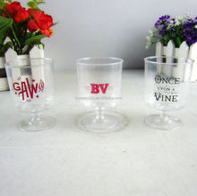 OEM print Plastic disposable decorative wine glass