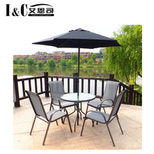 hot sale 6PCS garden furniture dinner table bistro set outdoor patio set with parasol