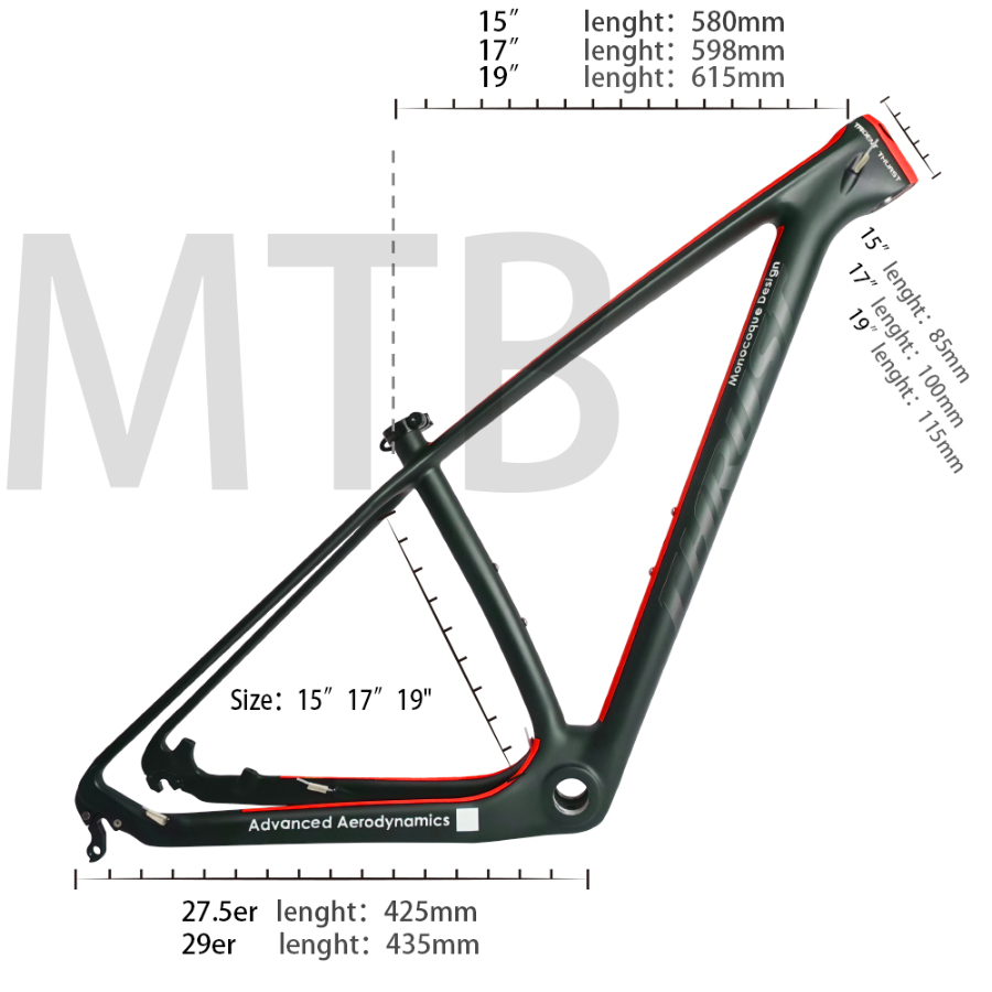 "Updated 2017 Full Carbon Mountain Bike Frame 15"" 17"" 19"" 21inch Match with 27.2mm Seatpost T800 Carbon MTB Frame 29er"