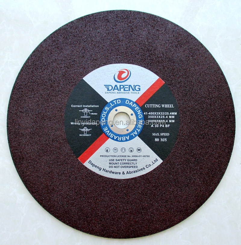 China type 41 355x2.5/2.8/3X25.4MM cutting wheel for metal/resin bonded cutting disc with ISO9001