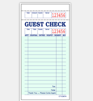 CT-G3674 Clear copied ink guest check book 2 parts for restaurant