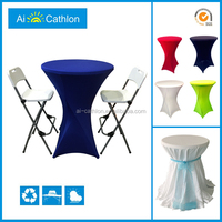 folding high bar cocktail table with table cloth,foldable cocktail table for wedding