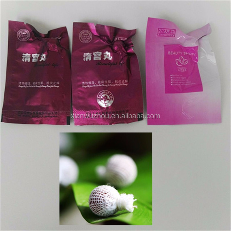 Chinese GMP factory wholesale herbal womb detoxing pearls vaginal cleaning tampons