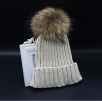 Hot Warm Upscale Rabbit Fur Pom Pom Acrylic Knitted Hats Women Beanie Hats