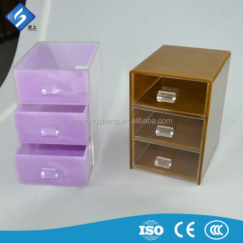 Colorful 3 Drawer Acrylic Storage Boxes for Multi-purpose in the Store
