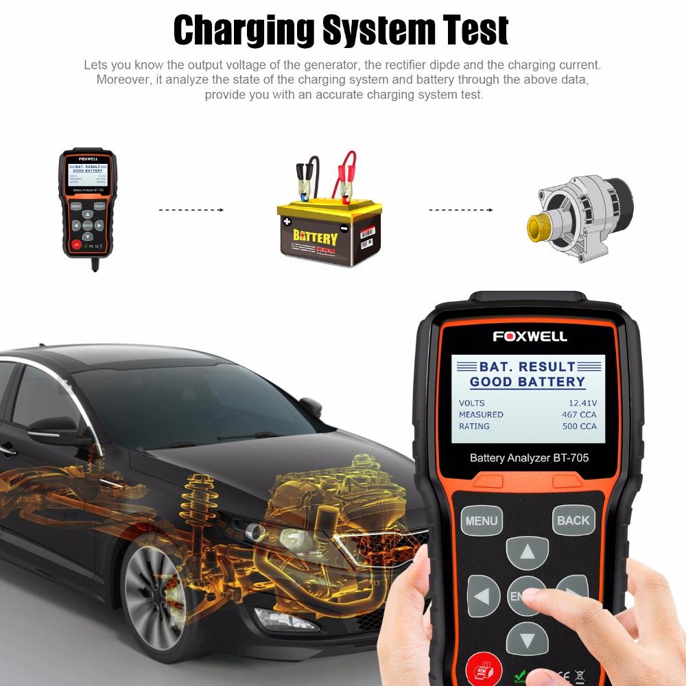 12V 24V Battery Tester Starting Charging Test Foxwell BT705 Car Diagnostic Tool