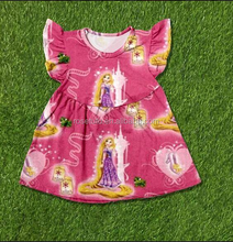 Kids Summer Party Princess Dresses Baby Cartoon Printed Skrits