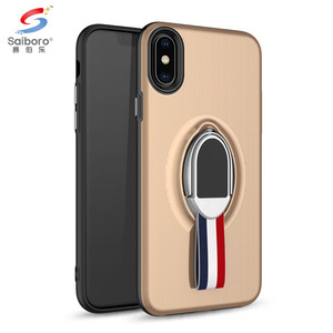 Saiboro car magnet hand strap kickstand 2 in 1 case with ring holder for iphone x cover