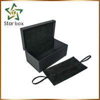 Real factory Fancy black craft box wooden gift box dubai jewelry packaging box