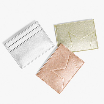 Custom Metallic Leather Christmas Gift PU Genuine Leather Credit Card Holder